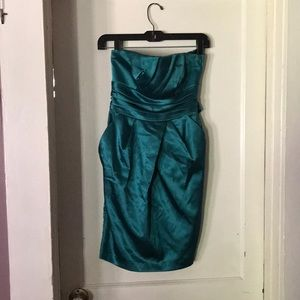 Peacock green strapless prom or party dress.